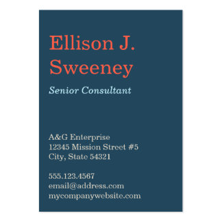 Oversize navy blue professional bold type design business cards