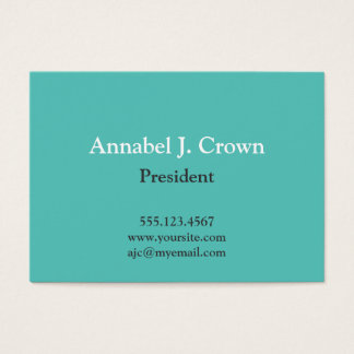 Oversize solid teal company logo traditional business card