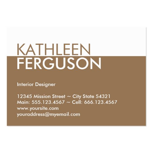 Oversize two tone color block brown professional large business cards (Pack of 100)