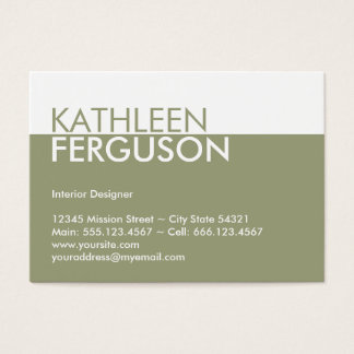 Oversize two tone color block green professional business card