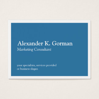 Oversize white border solid colbalt blue classic business card