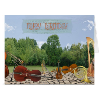 Oversized Birthday Orchestra Instruments in Park Card
