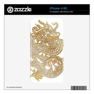 Oversized Faux Gold Chinese Dragon Skin 3 iPhone 4 Skins
