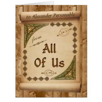 Oversized From Us All Vintage Scroll Custom Name Large Greeting Card