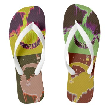 Beach Themed OvertheMoon flip flops Cocktail, Wide straps