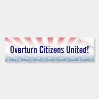 """""""Overturn Citizens United"""" Bumper Sticker"""