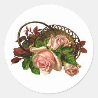 overturned basket with pink roses sticker