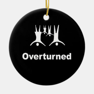 OVERTURNED -- Double-Sided CERAMIC ROUND CHRISTMAS ORNAMENT