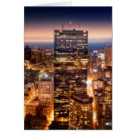 Overview of Boston at night Greeting Card