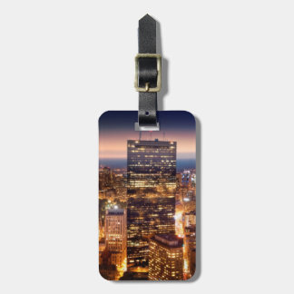 Overview of Boston at night Luggage Tag
