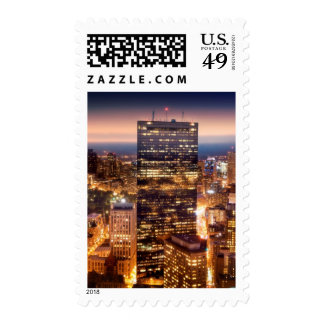 Overview of Boston at night Stamp