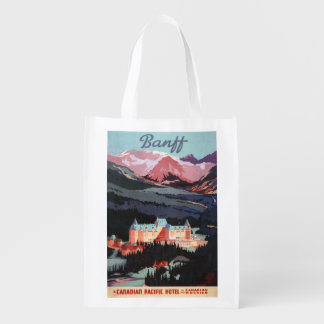 Overview of the Banff Springs Hotel Poster Grocery Bag