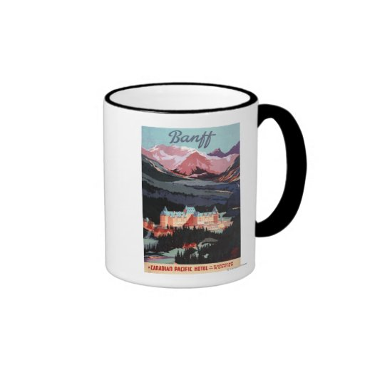 Overview of the Banff Springs Hotel Poster Ringer Coffee Mug