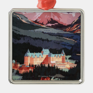 Overview of the Banff Springs Hotel Poster Square Metal Christmas Ornament