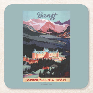 Overview of the Banff Springs Hotel Poster Square Paper Coaster