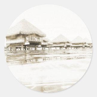 Overwater Bungalow Classic Round Sticker