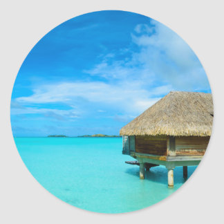 Overwater bungalow on Bora Bora Classic Round Sticker