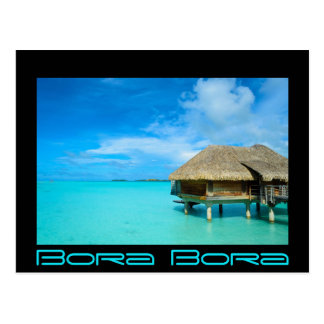 Overwater bungalow on Bora Bora postcard