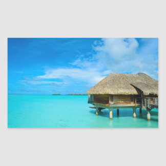 Overwater bungalow on Bora Bora rectangle sticker