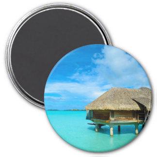 Overwater bungalow on Bora Bora round magnet
