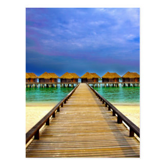 Overwater bungalows at Sheraton Maldives Postcard