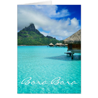 Overwater bungalows, Bora Bora greeting card