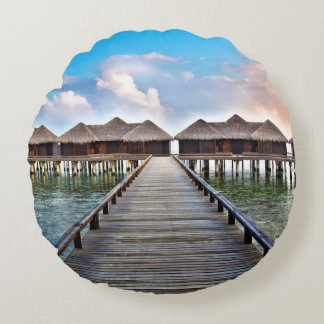 Overwater Bungalows Round Pillow