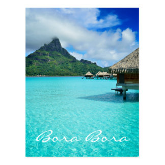 Overwater bungows in Bora Bora lagoon Postcard