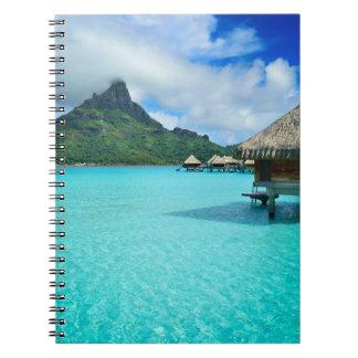 Overwater bungows in Bora Bora lagoon Spiral Notebook