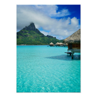 Overwater bungows on Bora Bora vertical poster