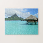 "Overwater resort on Bora Bora jigsaw puzzle<br><div class=""desc"">Jigsaw puzzle with a luxury overwater bungalow resort in the clear blue lagoon of the pacific island of Bora Bora,  near Tahiti in French Polynesia.</div>"