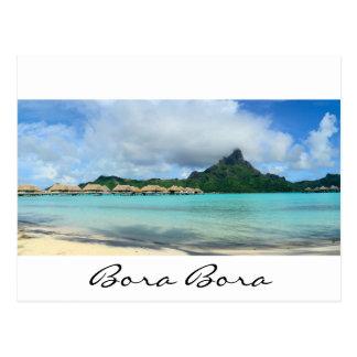 Overwater resort on Bora Bora pano text postcard
