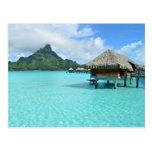 Overwater resort on Bora Bora Postcard