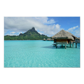 Overwater resort on Bora Bora poster