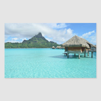 Overwater resort on Bora Bora Rectangular Sticker