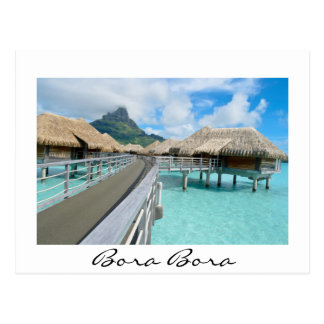 Overwater resort on Bora Bora white postcard
