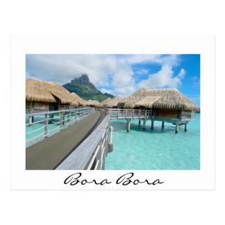 Overwater resort on Bora Bora white postcard