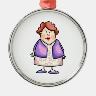 Overweight Woman Round Metal Christmas Ornament