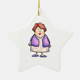 Overweight Woman Double-Sided Star Ceramic Christmas Ornament
