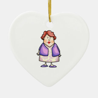 Overweight Woman Double-Sided Heart Ceramic Christmas Ornament