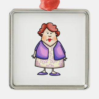 Overweight Woman Square Metal Christmas Ornament
