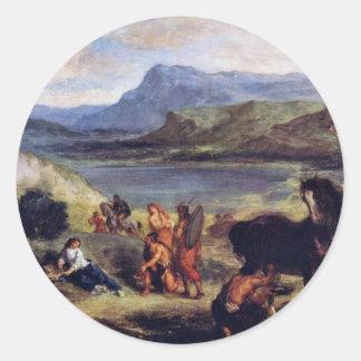 Ovid en Scythia Pegatina Redonda