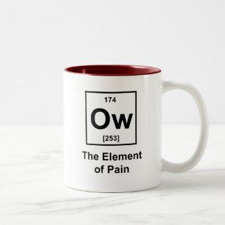 Ow, el elemento del dolor tazas de café
