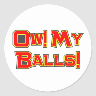 ¡Ow! ¡Mis bolas! Pegatina Redonda