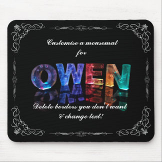 Owen  - The Name Owen in 3D Lights (Photograph) Mouse Pad