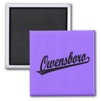 Owensboro script logo in black distressed 2 inch square magnet