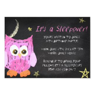 Owl2 Chalk sleepover design 5x7 Paper Invitation Card