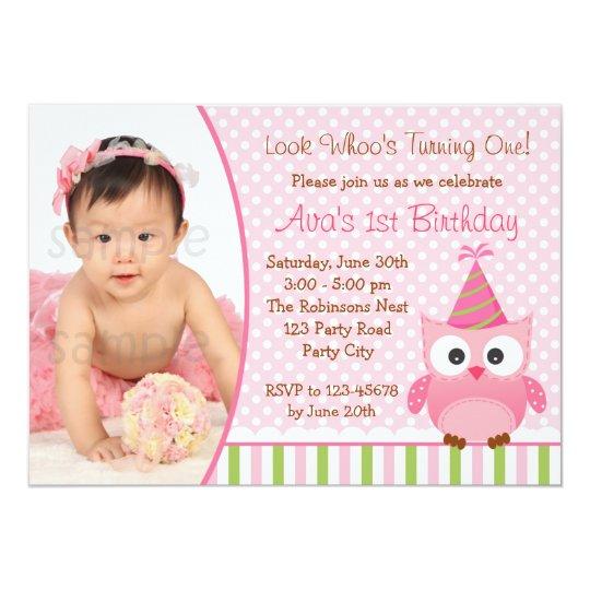 Owl 1st Birthday Invitation with Photo for Girls Zazzlecom
