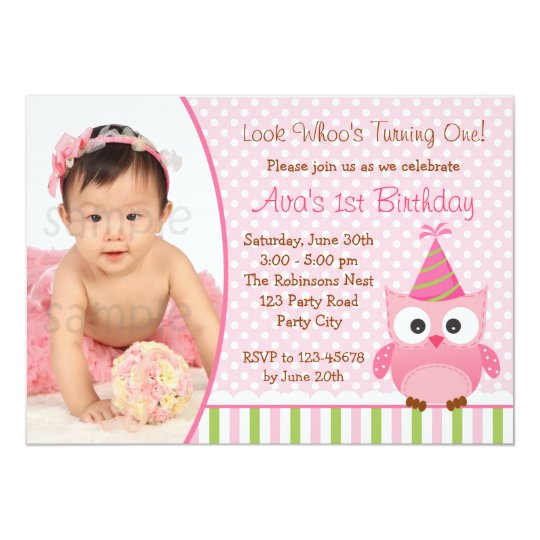 Owl 1st Birthday Invitation With Photo For Girls Zazzle Com