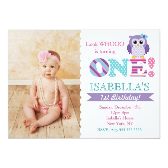 Owl 1st Birthday Invitations For Girl Zazzle Com